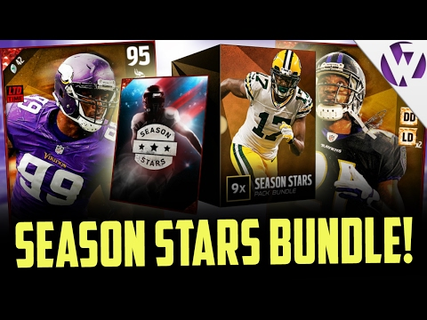 """MADDEN 17 SEASON STAR BUNDLE PACK OPENING!!! 6 LIMITED EDITION SEASON STARS IN PACKS!! �FAST, CHEAP MADDEN 17 COINS! https://buymutcoins.com/ use code """"Wheelz"""" for 10% off! Like and Subscribe..."""