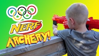 Nerf Gun Archery - Kids Olympics Sports Challenge with Nerf MEGA and Nerf RIVAL by Kid City