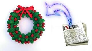 Christmas wreath   christmas decoration idea   how to make christmas wreath   newspaper craft