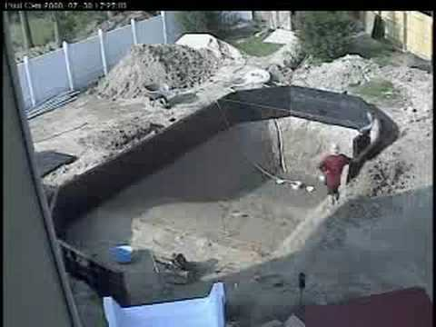 Guy builds his own inground pool youtube for Pool construction cost