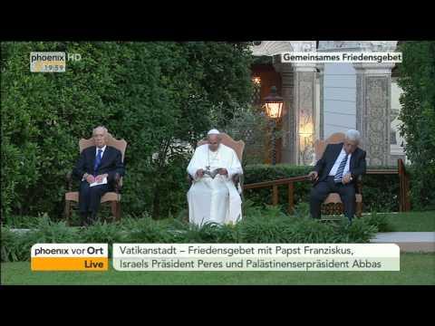 Friedensgebet: Papst Franziskus betet mit Peres und Abbas für Nahost am 08.06.2014