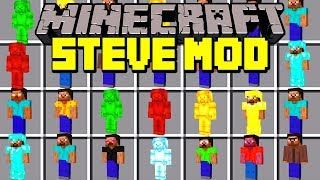 Minecraft STEVE MOD! | SPAWN GREEN STEVE, RED STEVE, BLUE STEVE & MORE!! | Modded Mini-Game
