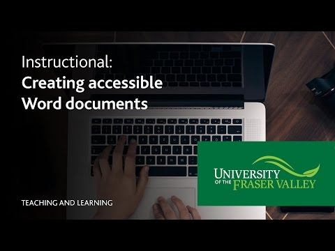 How to: Create accessible documents in Microsoft Word
