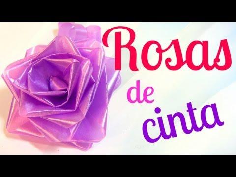 Cómo hacer rosas de cinta (lazos / moños para regalo).