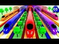 Learn Colors with Bullet Trains Passing Rings Tunnels & Balls Learning for Children with Toy Trains