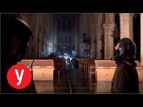 מבט מבפנים על נזקי השריפה בקתדרלת נוטרדאם שבפריז