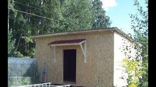 Строительство  каркасной мастеркой 6х6м часть № 4  Усиление стен  Навес над входной дверью