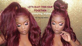How to Slay frontal wig, colouring Burgundy, lay baby hair to look natural | Klaiyi Hair