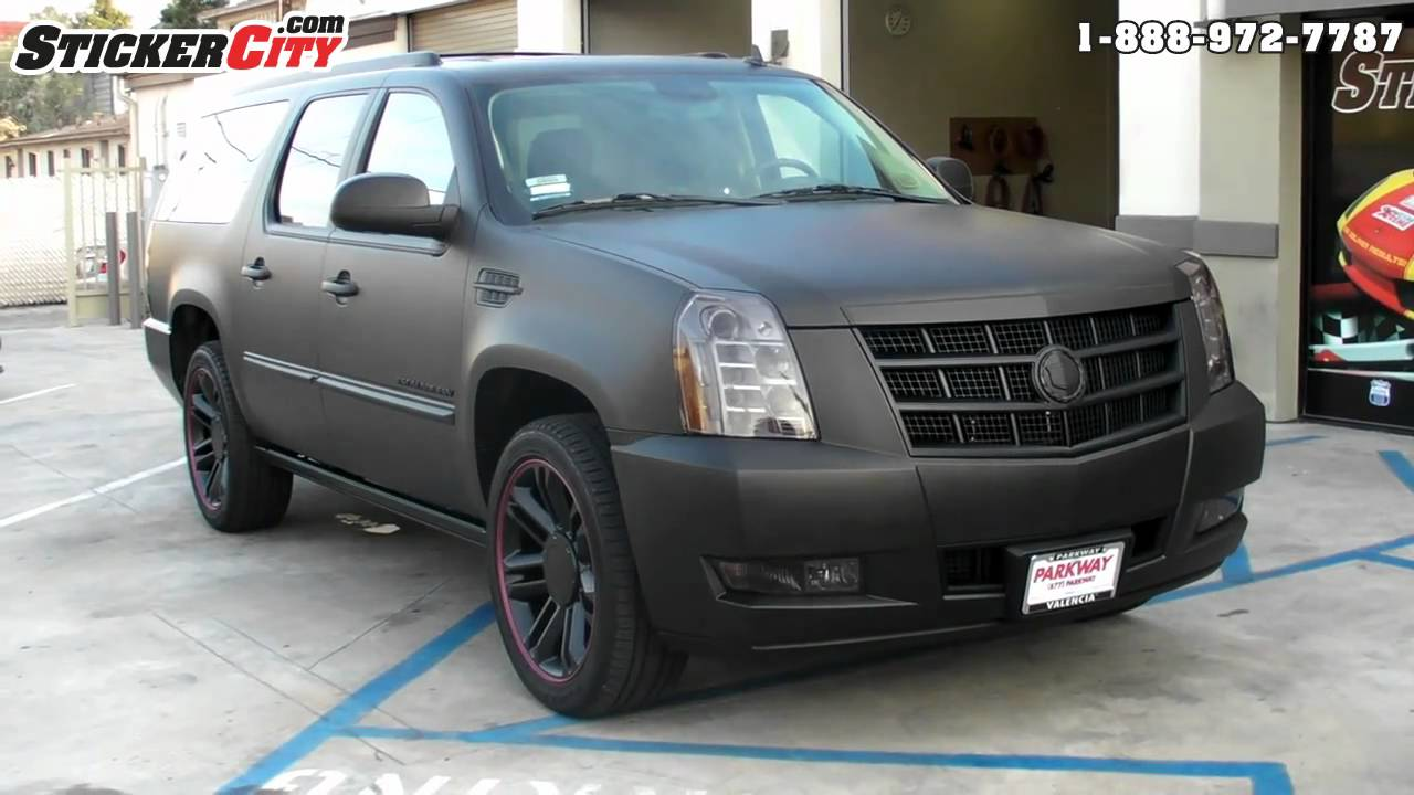 Matte Black Cadillac Escalade Vinyl Wrap Video Youtube