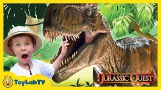 GIANT LIFE SIZE DINOSAURS Jurassic Quest Family Fun Amusement Park & Surprise Toy Opening Kids Video