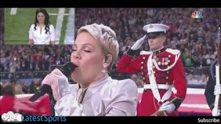 Pink sings the National Anthem at Superbowl 2018