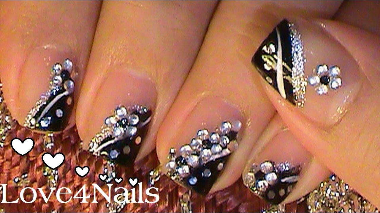U as de noche negro con piedras youtube for Unas decoradas con piedras de cristal