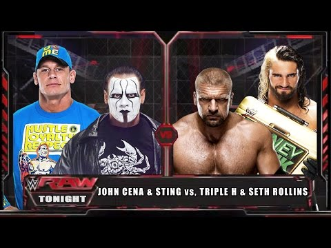 Wwe Raw 15 - John Cena & Sting Vs Triple H & Seth Rollins - Wwe Raw Full Match Hd! video