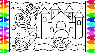 How to Draw a Mermaid for Kids 💜💖💚 Mermaid Drawing for Kids | Mermaid Coloring Pages for Kids