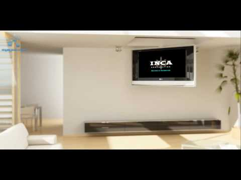Motorized fold down ceiling mount by inca corporation for Motorized ceiling tv mount