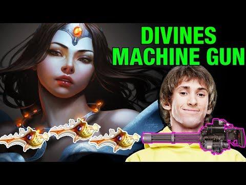 DIVINES MACHINE GUN - Dendi Plays Mirana with 3 Divines HARD GAME - Dota 2