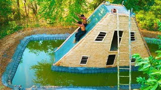 Build Big Swimming Pool Around Water Slide House