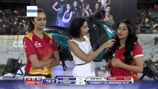 Regina Cassandra & Shubra Aaiyappa at Match Centre - CCL6 || Telugu Warriors vs Bhojpuri Dabanggs