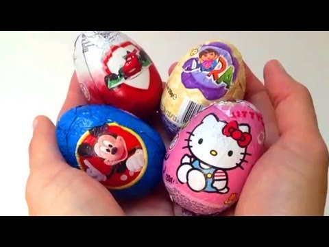 Mickey Mouse Clubhouse, Hello Kitty, Cars 2 and Dora the Explorer Kinder Surprise Spongebob Eggs