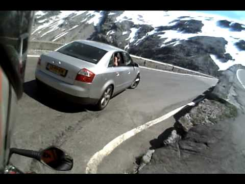 Swiss biker fall down on the Stelvio