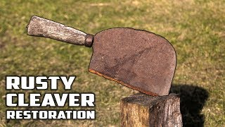 75 year old RUSTY CLEAVER - BUTCHERS AXE RESTORATION
