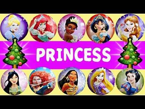 25 Disney Princesses Countdown To Christmas - Ariel Mulan Merida Cinderella Snow White Ornaments