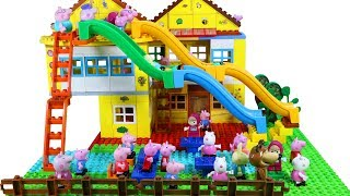Peppa Pig House Construction Lego set With Water Slide Creations Toys For Kids