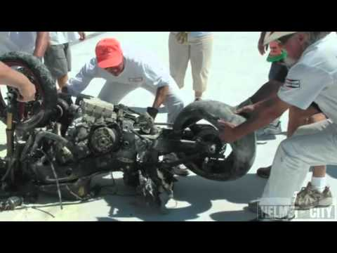 Motorcycle Rider Survives a 200+ mph Crash in a Shoei Motorc