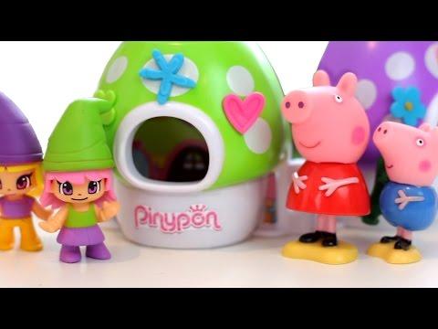 Peppa pig y los Nogmos del Parque! Pinypon en español. Divertilandia.