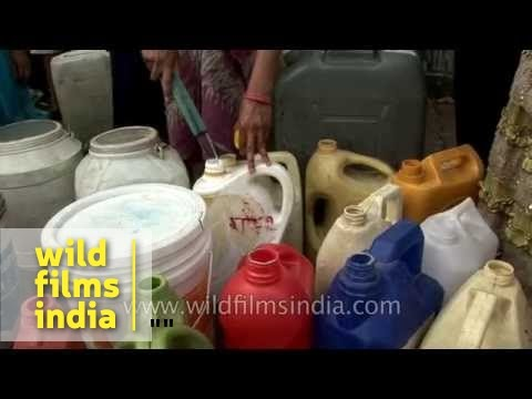 A variety of containers to collect water : Indian summer-time drought