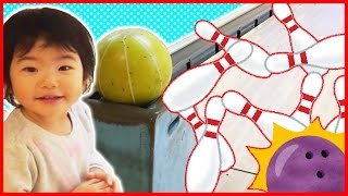 First Time Bowling at Indoor Playground for Baby and Kids Family Fun