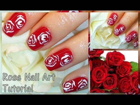 cute and easy valentine's day roses nail art tutorial