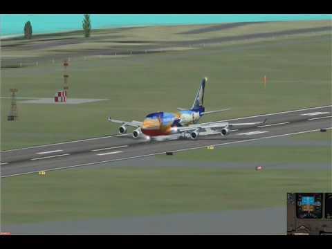 FSX China Airlines B737-800 Singapore B747-400 Qantas A321 Eva B777-300ER landing series