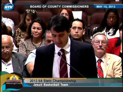 Jesuit High School (Tampa), state champion basketball team honored by County Commission, 5-15-13