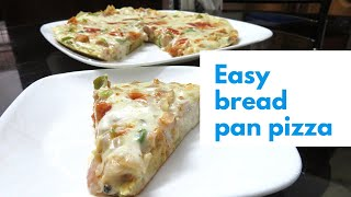 No cheese No baking• Simple bread pizza on pan • white saurce chicken bread pizza