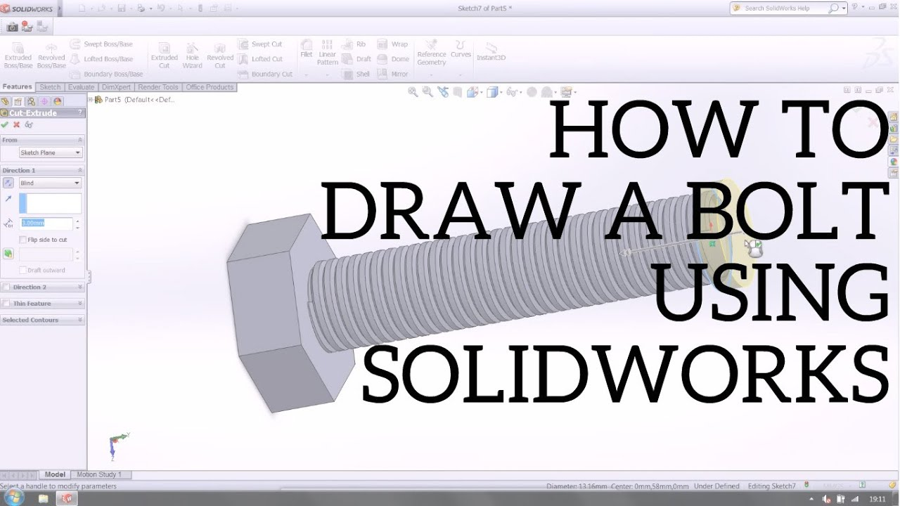 acadblog tutorial draw threaded bolt video