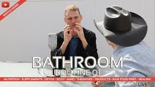 TEETH & TONGUE SCRAPING of BATHROOM ROUTINE with TOM WHITMIRE for FLUORIDE FREE TOOTHPASTE