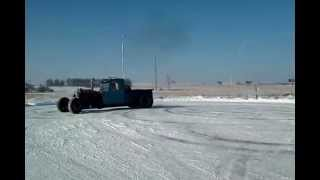 Rat rod Peterbilt in snow