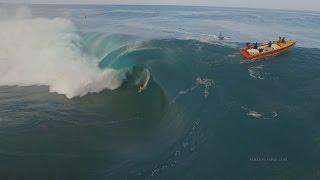 Drone Footage, Surfing Huge Waves, Teahupoo, Tahiti In 4K  July 2015