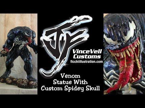 Venom Statue with Spider-Man custom Skull