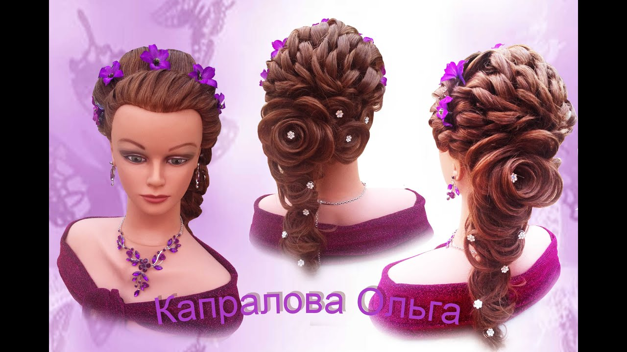 Причёски в виде розы