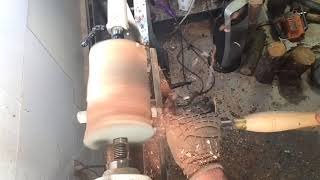 Roughing a log on the lathe