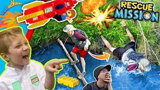 He Fell in da Swamp! LEGO ROCKET RESCUE MISSION! TRY NOT TO LAUGH! FUNnel Fam Adventure
