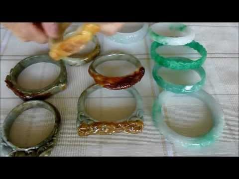 0 Carved Burmese Jadeite Bangle Bracelets