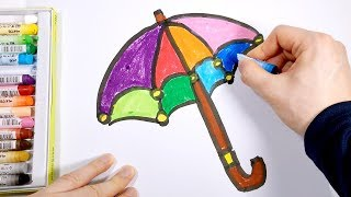 Rainbow Umbrella Coloring Page | Learn Colors For Kids Baby Toddlers