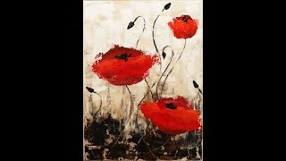 Impressionist Poppies Step by Step Acrylic Painting on Canvas for Beginners #LoveSummerArt