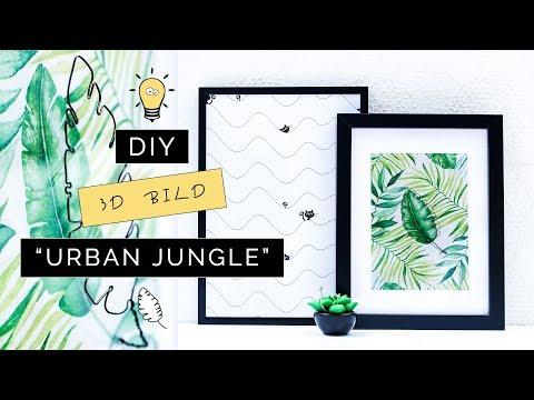 """DIY 3D Bild """"Urban Jungle"""" mit Draht-Skulptur   Designer-Deko selber machen   Servietten-Bild"""