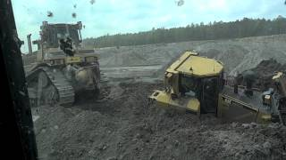 Caterpillar D-8 Bulldozer Stuck In The Mud D-9 Pulls it Out