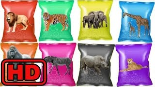 Kid -Kids -Learn colors With Wrong Heads Of ZOO Animals/ Animal Toy Surprise Bag Animation for Chil