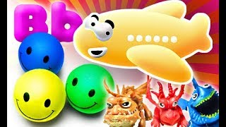Learn colors and letter B with funny balls and baby dragons